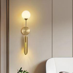 Applique murale LED en cuivre abat-jour en verre H58cm pour salon bureau couloir