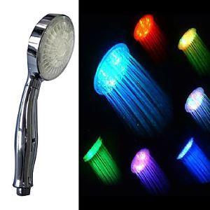 (Entrepôt UE) Contemporaine 7 couleurs changeantes LED pommeau de douche de poignée (finition chromée)
