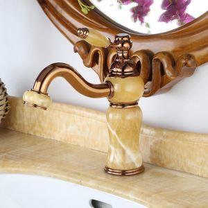 Mitigeur de lavabo en cuivre jade H22,5cm pour salle de bains poignée unique