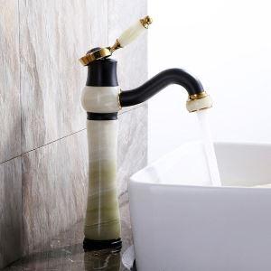 Mitigeur de lavabo en cuivre jade à poignée simple H29,5cm pour salle de bains