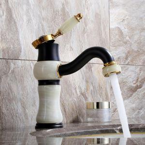Mitigeur de lavabo en cuivre jade à poignée simple H19,5cm pour salle de bains