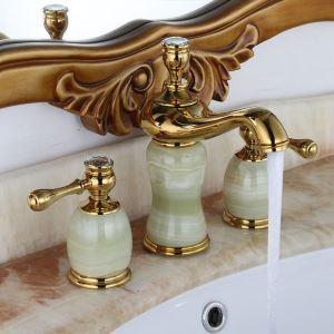Robinet de lavabo en cuivre jade à 3 trous 2 poignées H13,5cm
