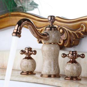 Robinet de lavabo en cuivre jade double poignée H22,5cm pour salle de bains