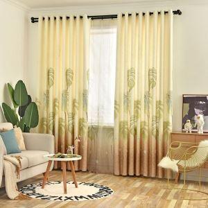 Rideau tamisant d'impression de feuilles en coton lin pour salon chambre 1 pièce