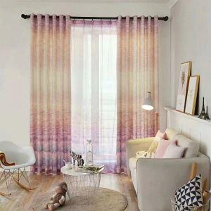 Rideau tamisant d'impression de prairies en coton lin pour salon chambre 1 pièce