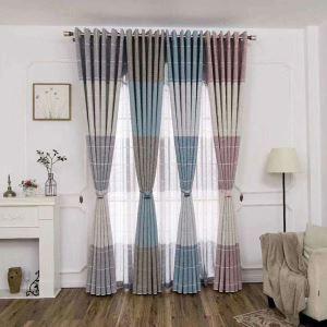 Rideau occultant d'impression de carreau en polyester pour salon chambre à coucher 1 pièce, 4 couleurs
