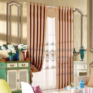 Rideau occultant brodés de fleurs en chenille pour salon chambre à coucher 1 pièce