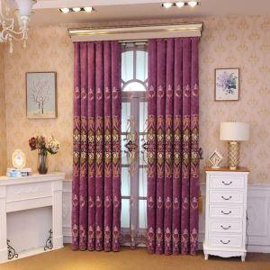 Rideau occultant brodé de fleurs en polyester pour salon chambre à coucher 1 pièce, 3 couleurs