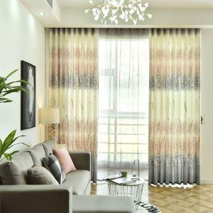 Rideau tamisant en coton lin imprimé pour salon chambre 1 pièce, 2 couleurs