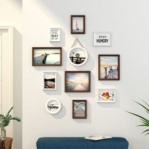 Cadre photo en bois à 11 pièces pour salon chambre à coucher, style A/B