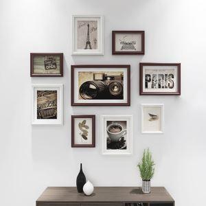 Cadre photo en bois 9 pièces 3 styles pour salon bureau chambre à coucher
