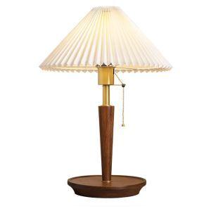 Lampe à poser en bois abat-jour en tissu avec interrupteur à tirette pour chambre salle d'études