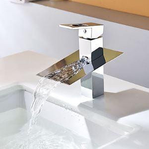 (Entrepôt UE) Robinet de lavabo  cascade mitigeur chromé contemporain pour salle de bain