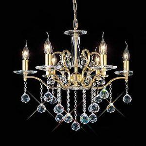 Lustre baroque à 6 lampes en cristal d'or D 60 cm pour salon salle à manger