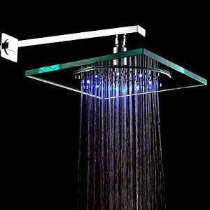 Pomme haute carrée L20 x L20 cm LED chrmé pour salle de bains