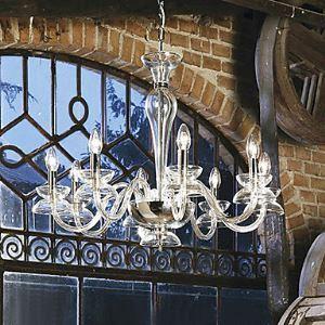 Lustre baroque en cristal à 8 lumières transparente pour salle chambre