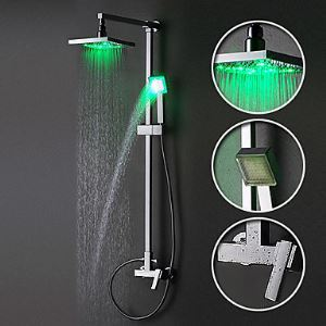 Colonne de douche LED laiton chromé avec robinetterie