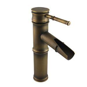 Robinet lavabo en laiton antique bambou H 22 cm pour salle de bains