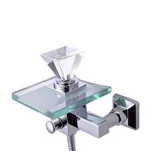 Robinet de baignoire cascade avec bec verre pour salle de bain contemporain