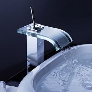 Robinet évier avec bec de verre cascade contemporain salle de bain