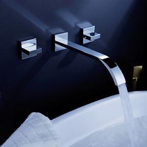 Robinet de lavabo avec vidage en laiton massif chrome mural 3 tous 2 poignées pour salle de bains