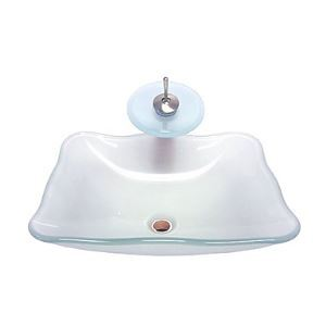 Vasque en verre trempé évier avec robinet cascade, drainage et anneau de montage