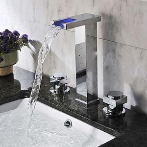 Robinet de lavabo H 24 cm cascade LED 2 poignées chrome pour salle de bain