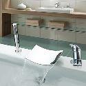 Robinet de baignoire cascade avec douchette chromé 2 Poignées pour salle de bain contemporaine