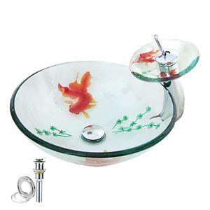 Vasque verre trempé rond D 42 cm avec robinet cascade pour salle de bains