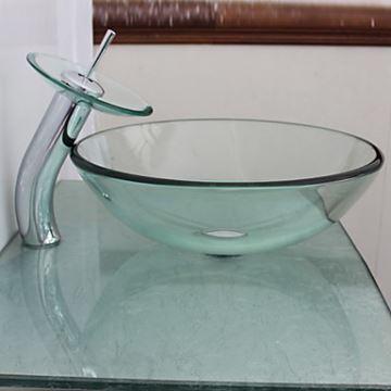 Vasque verre avec robinet transparent L72cm pour salle de bains