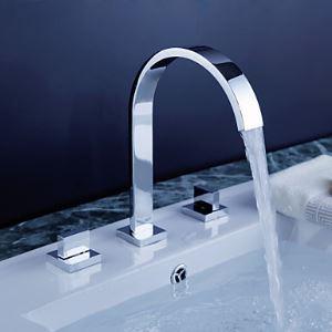 Mitigeur de lavabo H23cm 2 poignées 3 trous en laiton chromé pour salle de bains