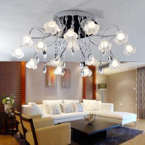 (Entrepôt UE)Style moderne élégant plafonnier avec K9 boule de cristal en forme de floral pour salle chambre