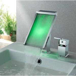 (Entrepôt UE) Trois couleurs changeant éclairé conduit robinet cascade verre