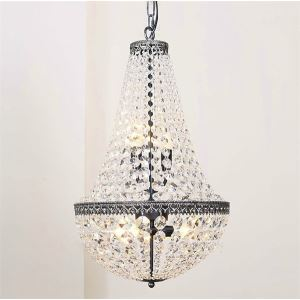 Lustre cristal à 6 lampes D38cm H64cm luminaire pour salon salle