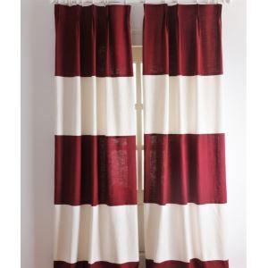 (Entrepôt UE) Stripe néoclassique  Rouge et blanc éconergétiques rideaux panneau-2039