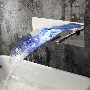 Robinet de lavabo LED chrome cascade pour salle de bain moderne