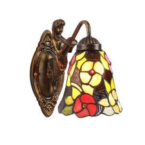 Applique tiffany verre antique à motif sirène floral H23cm pour couloir chambre