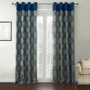 Rideaux d'économie d'énergie Jacquard bleu et gris motif géométrique Rayon
