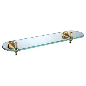 Etagère en verre laiton d'or pour salle de bain