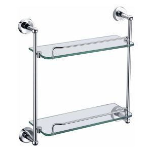 Etagères de salle de bains en verre 2 couches L44.2cm