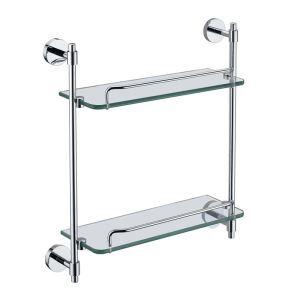 Etagère de salle de bain en verre chrome L44.2cm
