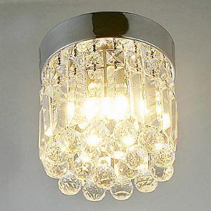 (Entrepôt UE) Plafonnier LED blanc chaud 1 lampe semi encastré en Cristal