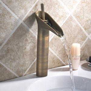 Robinet de lavabo en cuivre H 24 cm antique cascade pour salle de bains