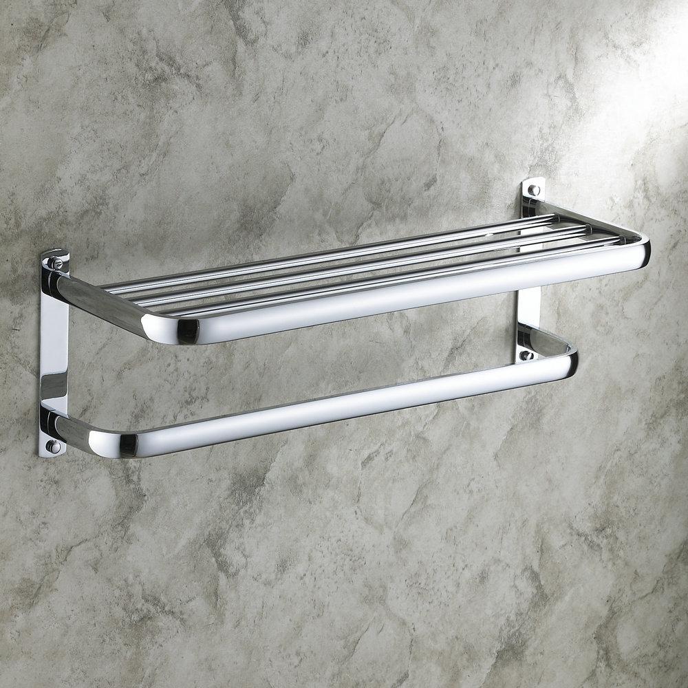 Porte serviette chrome l 59 cm pour salle de bains - Porte serviette salle de bain mural ...