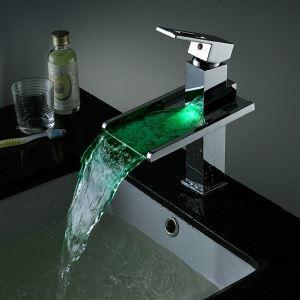 Mitigeur de lavabo LED cascade laiton chromé H185mm bonne qualité pour salle de bains