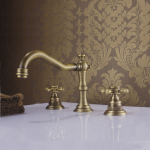 Robinet lavabo Laiton antique 3 trous 2 poignées