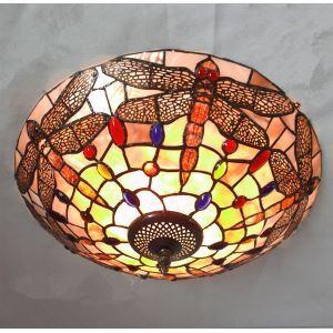 Plafonnier à 3 lampes tiffany à motif de Libellule en verre D40cm luminaire de chambre couloir
