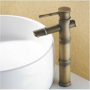 Robinet de lavabo laiton antique en forme de bambou H31cm