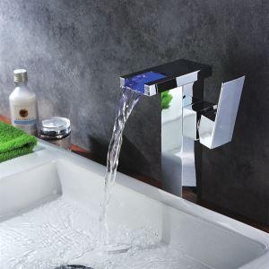 Robinet lavabo chromé LED cascade