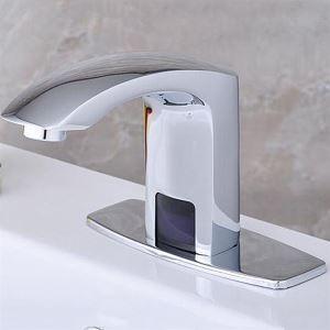 Robinet lavabo en laiton H 12 cm chrome avec capteur automatique pour salle de bain